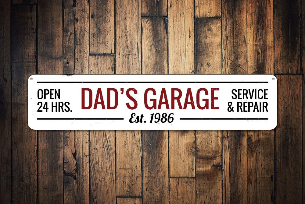 Personalized Garage Signs For Automotive : Dad s garage sign personalized established date