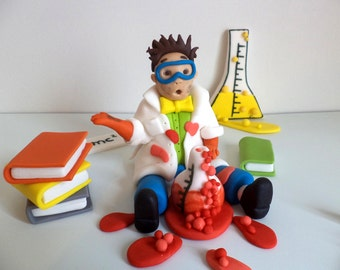 Mad Scientist Edible Fondant 3d Cake Topper, Science Chemistry Birthday Cake Decor, Books,Triangle Beaker,Round Beaker Colorful Cake Topper