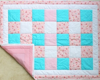 Nursery Quilted girl blanket, Baby quilt blanket, Baby quilt girl Homemade quilts, Baby blanket quilt, Baby crib quilt, baby shower gift