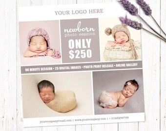 Mini session template. Marketing board photography template. Newborn session template. Fully editable Photoshop PSD file. 5x5 inch. SB002