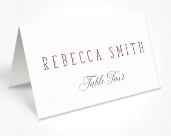Purple and White Laurel Wreath Wedding Place Cards, Modern, Free Colour Changes, Laurel Wreath | Peach Perfect Australia