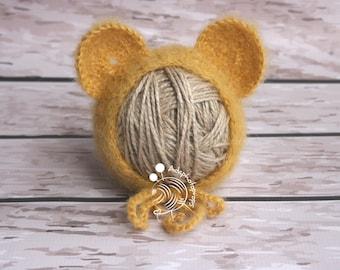 Newborn knit bonnet, teddy bonnet,newborn photo props,teddy hat,hat with ears,newborn hat,hats,knits,