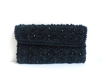 beaded clutch, black clutch, straw clutch, 60s clutch bag, 1960s mad men purse, small handbag, fancy evening bag,