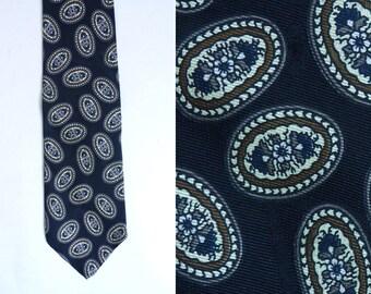 geometric tie, floral tie, black brown, silk tie, retro 80s tie, 1980s tie, mens tie, mens necktie, mad men, work formal