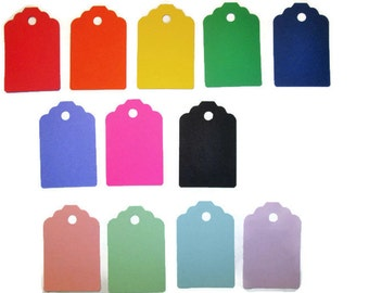 """Blank Gift Tags Set of 100 Many Colors - You Pick Hang Tags, Price Labels, Price Tags, with or without top hole Size: 2 1/4"""" x 1 1/2"""""""