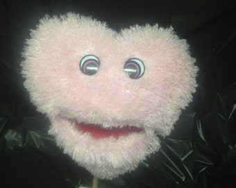 Large Soft Fluffy Pink Plush Heart Puppet