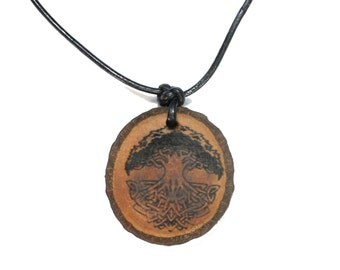Wood tree of life, with leather strap