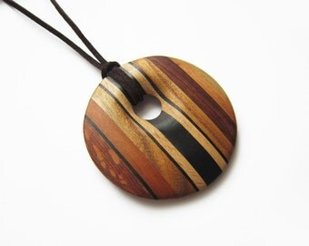 Wooden Necklace, Necklace Wood, Pendant circle
