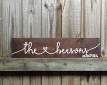 Wooden Family Sign,Established Sign, Rustic Home Decor,Wedding Gift,Name Sign,Last Name Sign,Housewarming Gift, Farmhouse Decor, Wood Sign