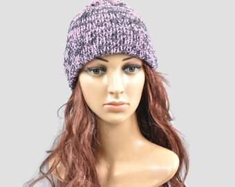 Woman's beanie ,Pink and black two tone beanie, Wool hat, hand knit beanie,Merino wool beanie.
