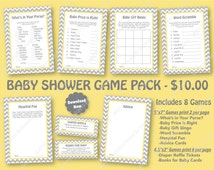 Yellow Gray Baby Shower Game Pack -70% OFF -PRINTABLE Baby Shower Games- 8 Pack - L Gray Pastel Yellow - Chevron Party -Diaper Raffle Ticket