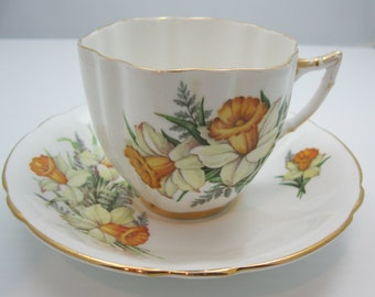 Royal Westminster Daffodil   Cup and Saucer with Gold Trim.