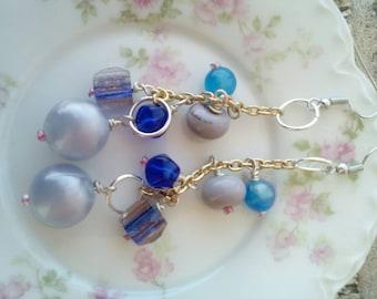 blue glass earrings *STORE CLOSING*