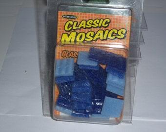 "Classic Mosaic Glass Tiles, 1"" square, 3oz, blue mix"