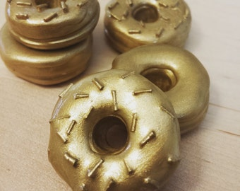 Gold Sprinkle Miniature Clay Donut Magnet Set