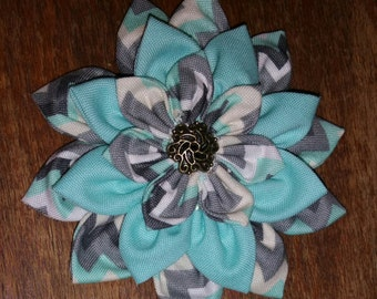 Chevron and Blue fabric stacked flower hair bow