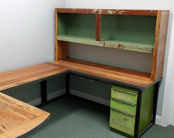 Custom New Workstation Desk U Shaped from Reclaimed Wood