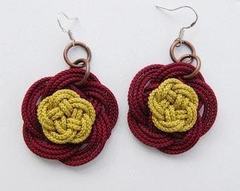 camellia flower earrings, silver hook