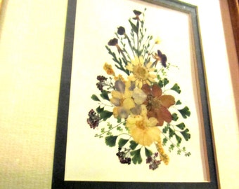 Framed mirror with pressed flower design vintage ready to hang