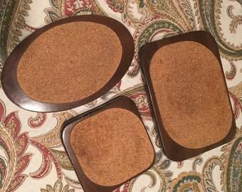 Set of 3 Vintage Hellerware Wood/Cork Trivets