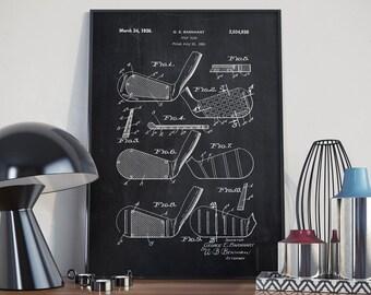 Golf Stick Patent Print, Golf Patent Print, Golfer Poster, Golf Club Decor,