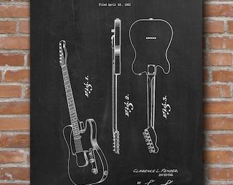 Electric Guitar Patent Print, Guitar Patent, Rock Band Instrument, Music Room Art, Patent Print - DA0596