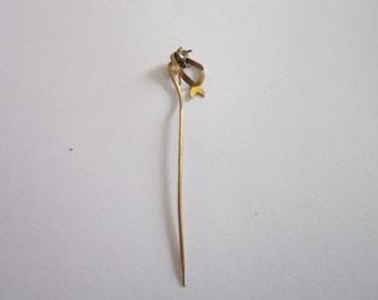 Antique Victorian Gold filled Stickpin with Rhinestone