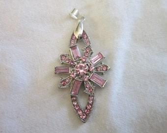 Vintage Silver Tone Pink Rhinestone Necklace Pendant