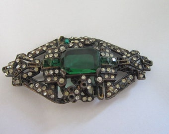 Antique Art Deco Large Brooch with Emerald Stone