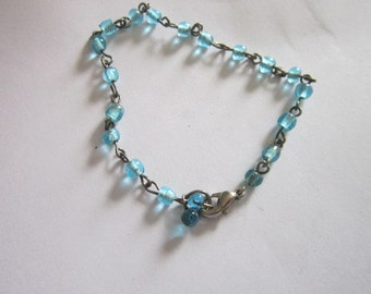 Vintage Silver and Blue Glass Beaded Bracelet