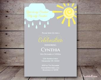 DIY You are my Sunshine Custom Invitation, Baby Shower Invitation, Bridal Shower, Birthday Party Invitations, printabell TLC112