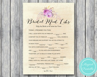 Bridal Mad Libs, Help bride write her vows version, Bohemian, Boho Bridal Shower Game download, Bachelorette, Wedding Shower BS168
