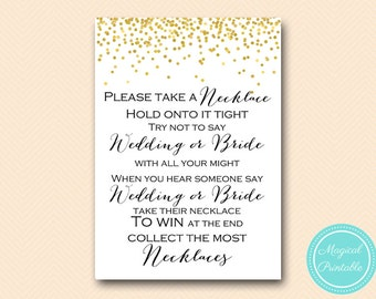 Don't say wedding Bride, Take a necklace game, don't say a word, necklace game, Gold Confetti Bridal Shower, Bachelorette BS46