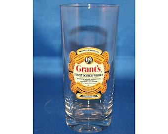 Vintage Grant's Scotch Whiskey Tall Glass Reims glass made in France