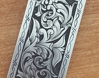 Money Clip, hand engraved, barbed wire border