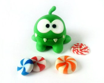 Om Nom figurine,polymer clay,figurine,green monster,handmade,sculpture, plastic,miniature,Om Nom stories