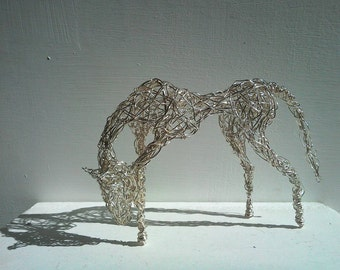 Fine Thoroughbred Horse Sculpture. Silver-plated Wirework.