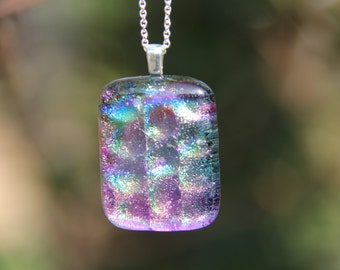 Rainbow dichroic pendant ,  dichroic glass necklace, multi-coloured fused glass necklace, fused glass pendant, rainbow dichroic,