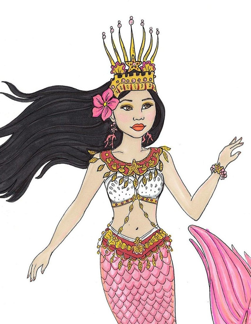 fashion coloring page mermaid of cambodia fantasy coloring