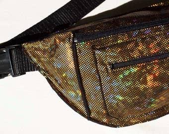 Gold Holographic Iridescent Fanny Pack Bum Bag Festival Burning Man