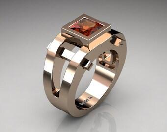 Mens Modern 14K Rose Gold 2.0 Ct Princess Orange Sapphire Ring R1049P-14KRGOS