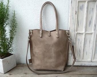 Leather bag, grey leather bag, medium size leather bag, leather bag women, shoulderbag, leather bag, leather shopper Claire - mud-grey!