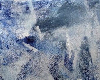 Bluerk by Yu Polch - abstract blue oil on French thick paper