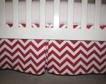 Red Chevron Crib Skirt with Pleat