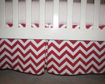 Red Chevron Crib Skirt with Pleat