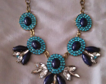 Navy and aqua rhinestone bib necklace