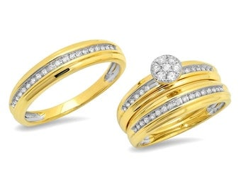 His Hers 14K Yellow Gold 0.42 CT Trio Set Diamond Wedding Band Bridal Ring
