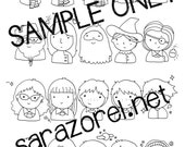 Harry Potter Doodles, Coloring Page, Printable, Chibi, Kawaii, Cute characters