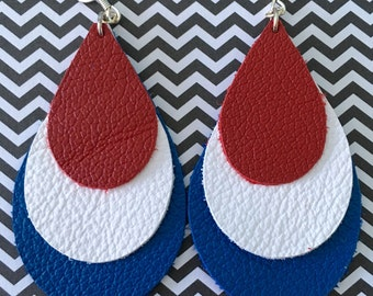 Leather Earrings Teardrop LAYERED Red White Blue - Memorial Day - July 4th