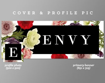 Timeline Cover + Profile Picture 'Envy' Cover, Profile Picture, Branding, Web Banner, Blog Header | red flowers, black garden, pink